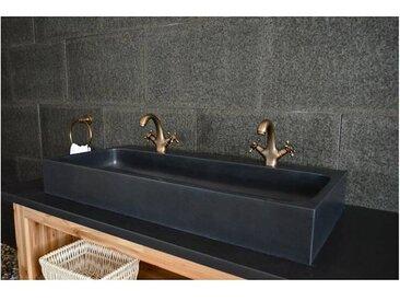 Living ROC Double vasque 100x46 en pierre de basalte noir - LOOAN DARK