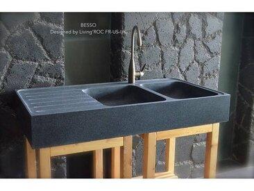 Living ROC Évier Cuisine pierre Granit 2 cuves égouttoir 120x60 - BESSO