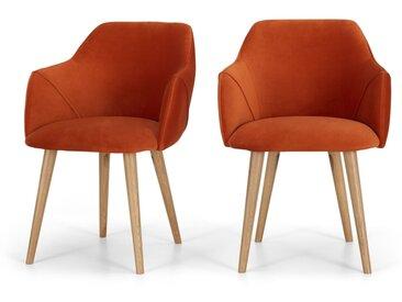 Lule, lot de 2 chaises à accoudoirs, velours orange flamme et pieds en chêne
