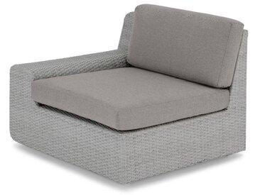 Cordon, module pour canapé d'extérieur avec accoudoir à gauche, tissu gris et résine tressée