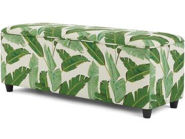 Burcot, banc coffre de rangement tapissé, imprimé feuillage