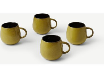 Genovie, lot de 4 tasses à glaçure réactive, ambré