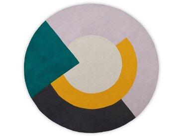 Ringa, grand tapis rond en laine tufté main 200 cm de diamètre, multicolore