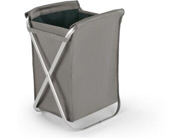 Ponting, panier à linge pliable en tissu avec structure en métal argenté, bleu canard et gris