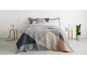 Bloco, couvre-lit en patchwork, gris et rose