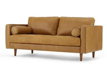 Scott, grand canapé 2 places, cuir premium brun Charm