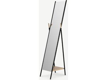 Huldra, miroir sur pieds avec étagère, noir