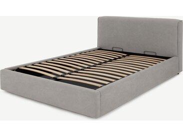 Bahra, lit coffre king size (160 x 200) avec sommier à lattes, coton lavé gris