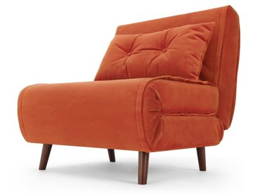 Haru, fauteuil convertible, velours orange flamme