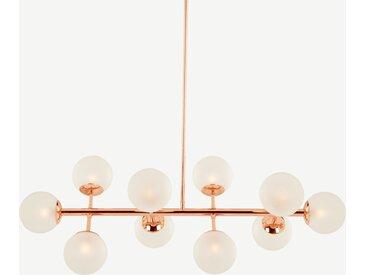 Globe, grand lustre 10 ampoules, cuivre et verre dépoli