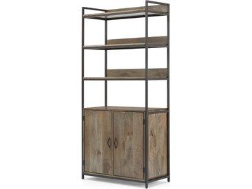 Lomond, étagère modulable avec compartiment de rangement, bois de manguier et métal noir