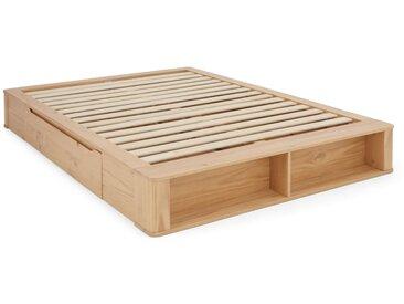 MADE Essentials - Kano, lit à tiroirs king size (160 x 200) avec sommier, pin