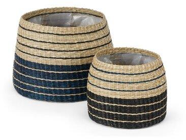Inca, lot de 2 cache-pots en jonc, naturel noir et bleu