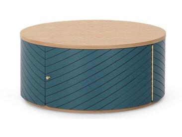 Novak, table basse, frêne et bleu canard