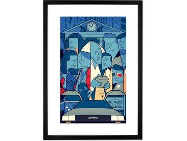 Back To The Future, par Ale Giorgini, affiche illustrée en couleur et cadre noir format A2