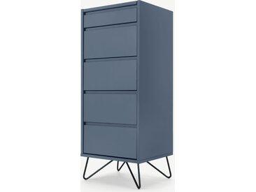 Elona, commode haute 4 tiroirs avec coiffeuse et miroir intégrés, bleu ardoise et métal noir