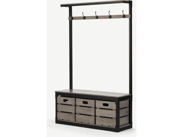 Layne, grand meuble d'entrée, bois de manguier gris et métal noir