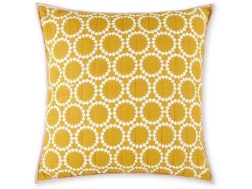 Agadir, coussin 60 x 60 cm, Gris et jaune safran