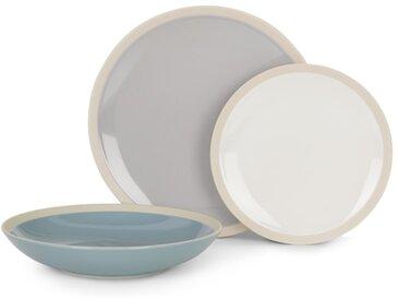 Naya, service de 12 pièces, gris et bleu pâle et blanc