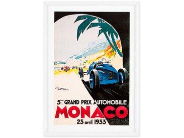 Monaco, affiche illustrée vintage en couleur et cadre blanc (disponible en plusieurs tailles)