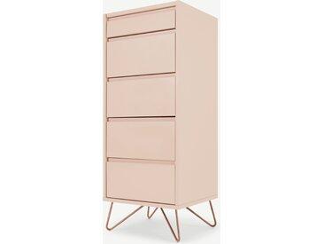 Elona, commode haute 4 tiroirs avec coiffeuse et miroir intégrés, rose poudré et cuivre