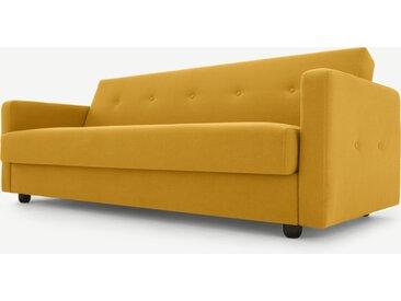 Chou, canapé convertible clic-clac avec compartiment de rangement, jaune beurre