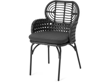 Swara, chaise d'extérieur avec accoudoirs, rotin noir