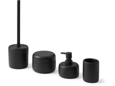Amari, set de 4 rangements pour la salle de bain et brosse de toilettes, noir mat