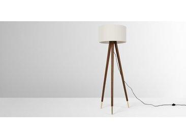 Bree, lampadaire tripode en bois, fini teinté et blanc