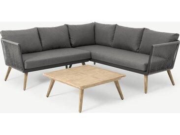Ensemble canapé d'angle et table basse d'extérieur en résine tressée, bois clair et tissu gris