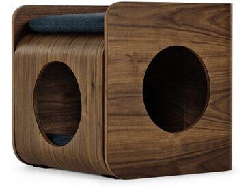 Kyali, lit cube pour chat, noyer teinté et bleu marine