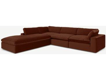 Samona, grand canapé d'angle avec méridienne à gauche, velours ambre