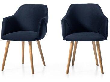 lot de 2 chaises à accoudoirs, velours bleu roi et pieds en chêne