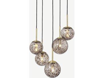 Julia, suspension 5 ampoules, laiton et verre motif écaille de tortue