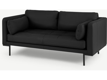 Harlow, grand canapé 2 places, cuir noir Denver