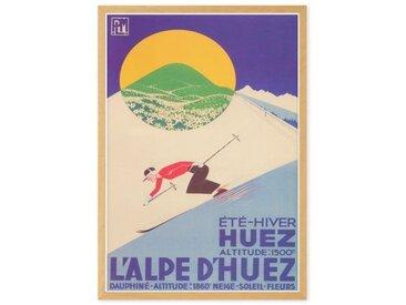 L'Alpe D'Huez Vintage Skiing Travel Framed A1 Wall Art Print, Multi