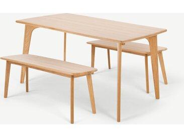 Fjord, ensemble table rectangulaire 6 personnes et 2 bancs, chêne
