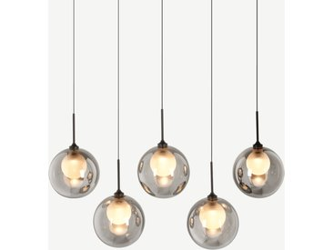 Masako, suspension LED 5 ampoules en métal noir, verre fumé et verre dépoli
