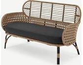 Swara, canapé d'extérieur 2 places en métal noir, osier poly fini naturel et tissu gris
