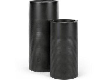 Dayo, lot de 2 grands cache-pots striés, noir