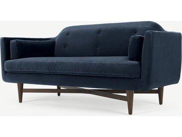 Imani, grand canapé 2 places, velours de coton bleu marine