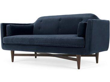 Imani, grand canapé 2 places en velours de coton, bleu marine