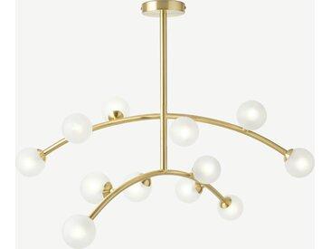 Fabia, lustre 12 ampoules, laiton et verre opale