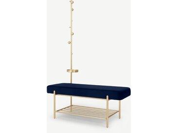 Asare, banc d'entrée tapissé avec étagère et portemanteau intégré, velours bleu roi et laiton