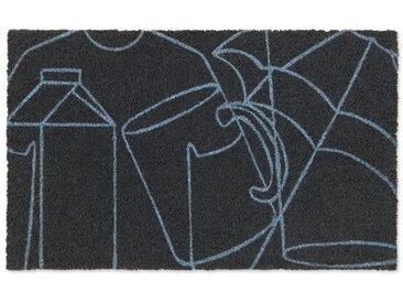 Cucina, paillasson 45 x 75cm, bleu et gris anthracite