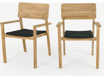 Jala, lot de 2 chaises à accoudoirs, bois d'acacia et polyester filé