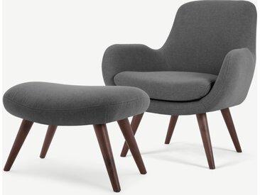 Moby, fauteuil et repose-pieds, gris marne