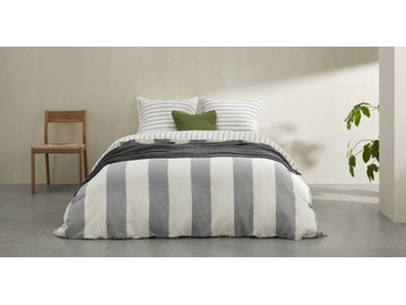 Kelsey, linge de lit super king size (260 x 240) en 100% lin rayé, bleu minuit
