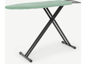 Kane, table à repasser en métal, noir et housse vert menthe