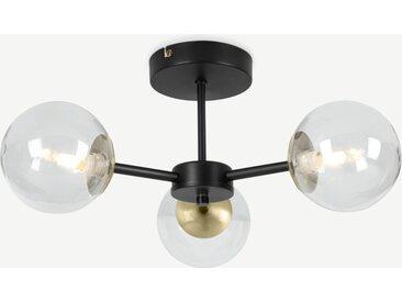 Globe, plafonnier 3 ampoules, métal noir et verre fumé